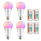 iLC Farbige Leuchtmittel LED RGBW Lampe Edison Dimmbare Farbige Leuchtmitte Lampen 10W E27 RGB LED Birnen- Dual Memory - 12 Farben - Kabellos Fernbedienung inklusive (4-er Pack)
