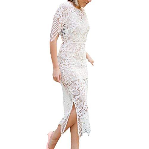 MAYOGO Formelles Kleid Damen Kleider Lange Spitzen Abschlussball Kleider Taille Hohl Bodycon Etuikleid Kurzarm Meerjungfrau Festlich Kleider für Damen (Der Rock Bambi Kostüm)