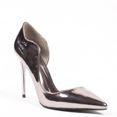 Ideal Shoes - Escarpins semi-ouverts à bout pointus et verni Demy Bronze
