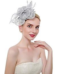 Copricapo Fascia Piuma Cappello Fiore Eleganti Cappello di Matrimonio  Accessori per Capelli da Sposa 6d4bc1a97472