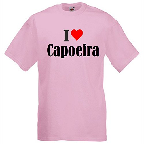 """T-Shirt """"I Love Capoeira"""" für Damen Herren und Kinder in Pink Pink"""