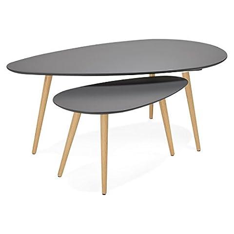 Couchtische design Oval Verschachtelung GOLDA in Holz und Eiche (dunkelgrau)