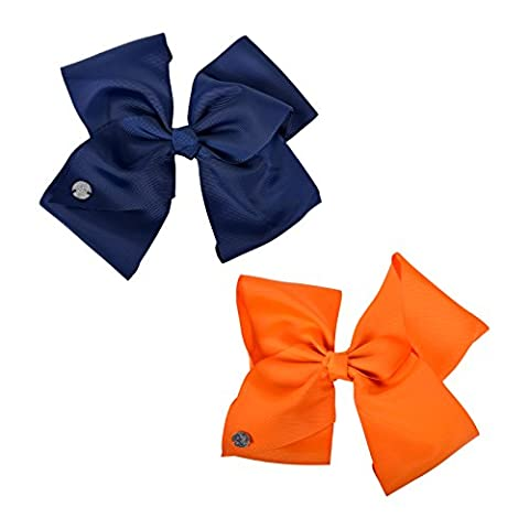 Set of 2 JoJo Siwa Large Bow Navy and Tangerine Hair Girls Style Party Fun