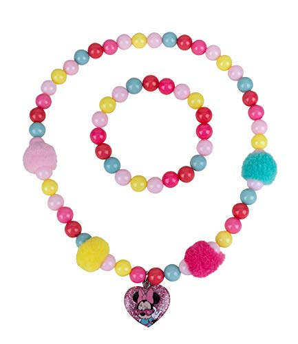 Disney, knallige Halskette und Armband mit bunten Perlen und Herzanhänger mit Minnie Mouse, Flauschige Bommel (297-756) ()