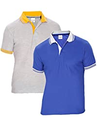 Baremoda Men's Polo T Shirt Blue And Grey Combo Pack Of 2
