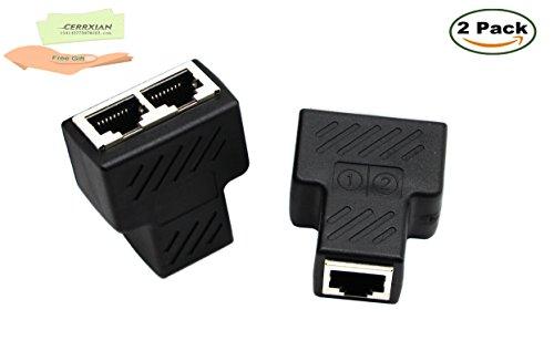 cerrxian New RJ45, real Netzwerk-Splitter, Ethernet Kabel Splitter CAT5, CAT5e, CAT6, CAT7, RJ45Netzwerk Extender Stecker Ethernet Cable Sharing Kit für Router TV Box Kamera PC lapop (2)