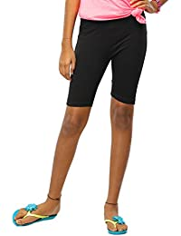 GO COLORS Girls Cyclist Shorts - Pack of 2 - Black