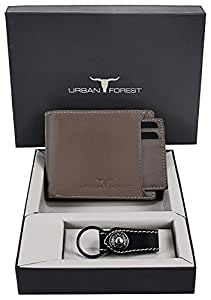 Urban Forest Leather Wallet Combo for Men - Classic Taupe Men's Leather Wallet and Black Keyring Combo Gift Set for Men