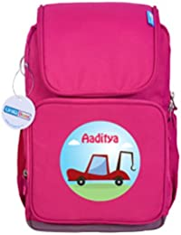 UniQBees Personalised School Bag With Name (Active Kids Medium School Backpack-Pink-Tow Truck)