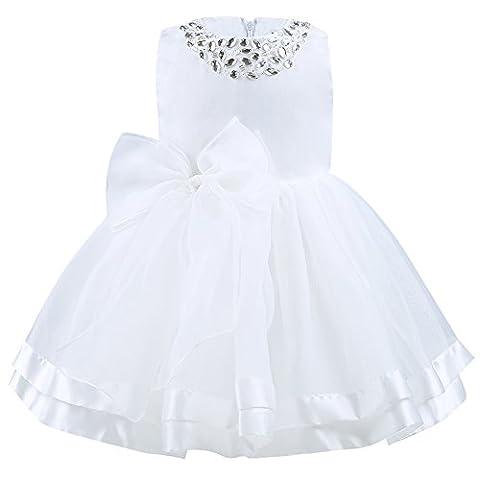 IINIIM Robe de Cérémonie Princesse Baptême BéBé Enfant Fille Cristal Ivoire Grande Noeud Papillon Robe Longue en Organza Taille 3 Mois-3 Ans Ivoire 9-12
