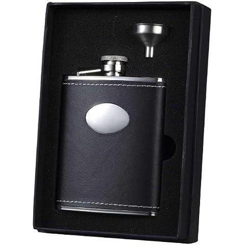 Visol Eclipse Leather Liquor Flask Gift Set, 6-Ounce, Black by Visol - Liquor Flask Gift Set