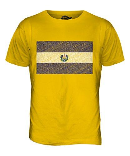 CandyMix El Salvador Kritzelte Flagge Herren T Shirt Dunkelgelb