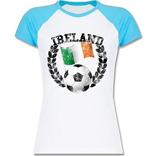 ... T-Shirt für Damen Weiß/Türkis. EM 2016 - Frankreich - Ireland Flagge &  Fußball Vintage - zweifarbiges Baseballshirt / Raglan T