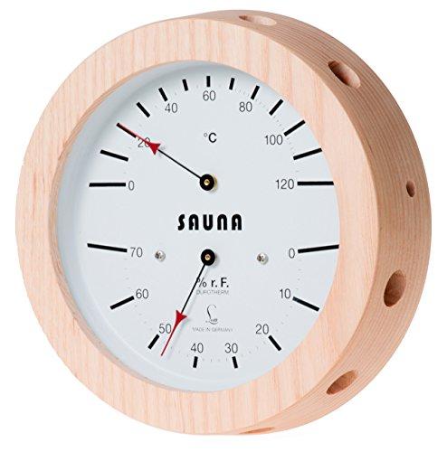 LUFFT - Sauna Klimamesser mit Haar-Hygrometer synthetic, kombiniert mit Bimetall-Thermometer, Echtholzgehäuse Ø 155 mm