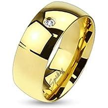 Paula & anillo Fritz de acero inoxidable quirúrgico 316L oro 6 mm ancho línea clásica con
