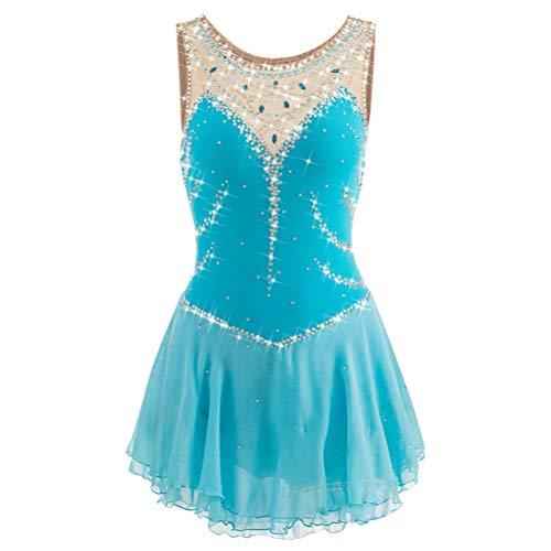 YunNR Eiskunstlaufkleid Ärmelloses Eiskunstlaufkleid für Damen und Mädchen Elasthan Performance Wettbewerb Eislaufen Kostüm Handgefertigte Juwelen/Strass, 10 -