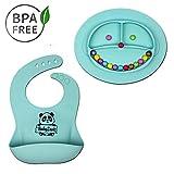 Babylovit Zertifizierter BPA-freies Rutschfester Silikonteller und Lätzchen Schale Platzdeckchen Tischset Kinderteller