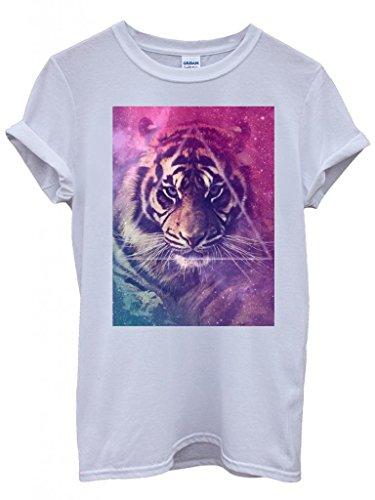 Galaxy Tiger Animal Leopard Pattern Cool Funny Hipster Swag White Weiß Damen Herren Men Women Unisex Top T-Shirt -X-Large