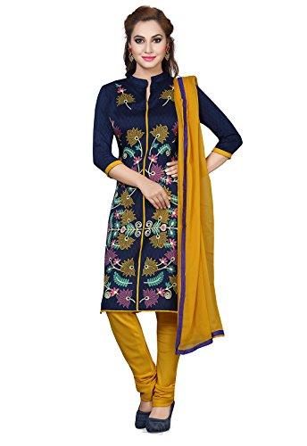 Shree Rajlaxmi Sarees Women's Printed Poly Cotton Regular Wear Unstitched Dress Material (rl-blue-j flower)