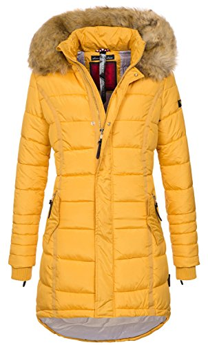 Navahoo Papaya Damen Winter Jacke Steppjacke Mantel Parka gesteppt warm B374 [B374-Gelb-Gr.L]
