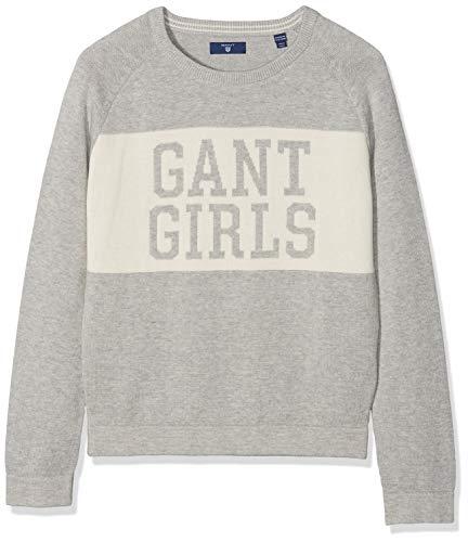 GANT GANT Mädchen Pullover Tg S Crew Sweater, Grau (Light Grey Melange) 7-8 Jahre (Herstellergröße: 122/128)