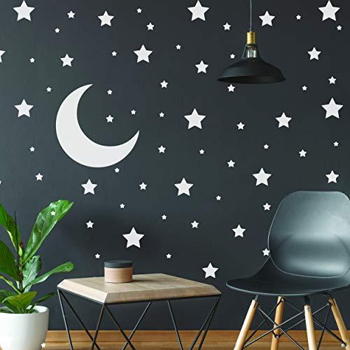 Pegatinas de estrellas blancas - Decoración de pared de recámara temática de espacio - Calcomanía...