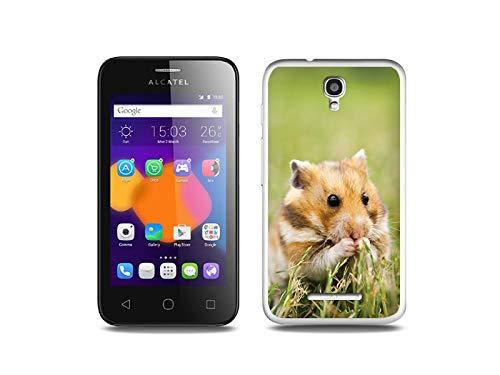etuo Handyhülle für Alcatel One Touch PIXI First - Hülle, Silikon, Gummi Schutzhülle - Hamster auf der Wiese
