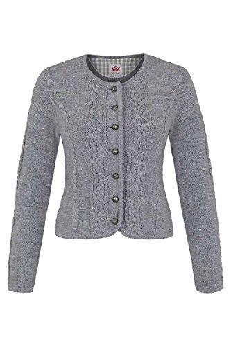 Spieth & Wensky Damen Damen Trachten Strickjacke mit Zopfmuster grau, grau, L