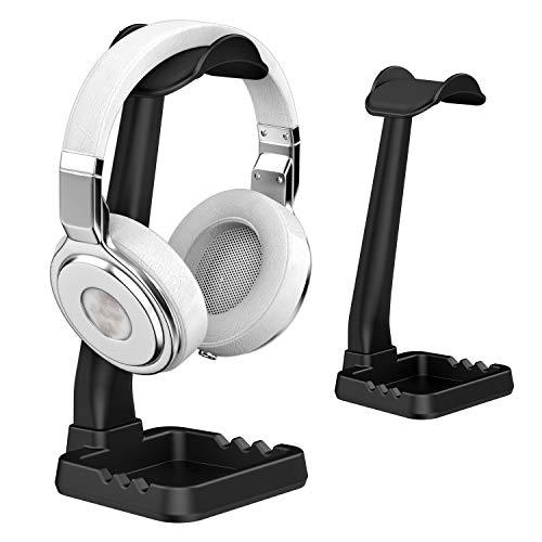 Universal Kopfhörerständer Aufhänger mit Handyhalter für Sony Bose Shure Jabra JBL AKG TATEGUARD Gaming-Headset und Headset Montieren Aufhänger Zubehör für Schreibtisch Organisation Display Schwarz (Schreibtisch-headset-ständer)