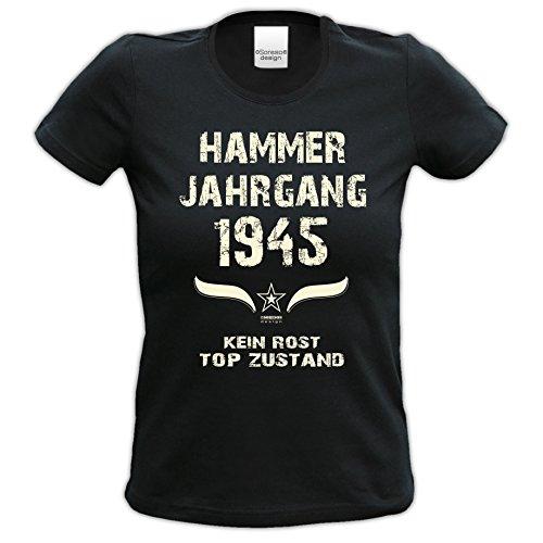 71.Geburtstag-Damen-Mädchen-Happy-Birthday Fun-Girlie-T-Shirt Geschenk mit Sprüche-Motiv: Hammer Jahrgang 1945 Farbe: schwarz Schwarz