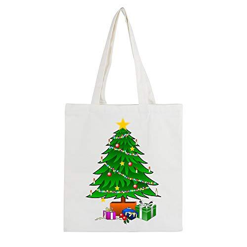 ZXXFR Weihnachten Der Baum Frauen Reißverschluss Leinwand Schulter Handtasche Schultertasche Canvas Tasche Mit Großer Kapazität (Größe: 34×38 cm),2