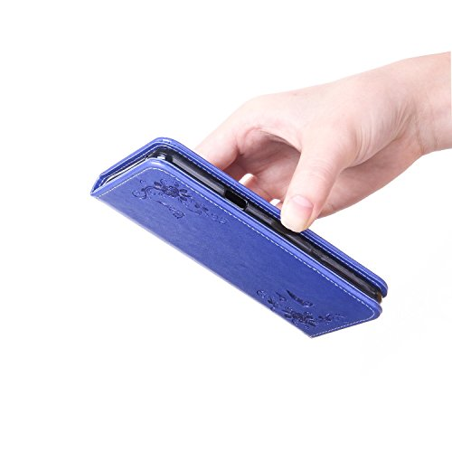 JIALUN-Telefon Fall PU-lederner Mappen-Kasten, Folio-Schlag-Standplatz-Fall-Abdeckung mit Halter u. Kartenschlitzen u. Magnetischer Verschluss für iPhone 7 Plus ( Color : Rosegold ) Blue