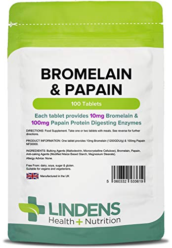 Lindens - Bromelain & Papain 10/100 Tablets - 100 Stuck -