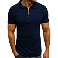Beikoard_Manga Corta de Hombres Camiseta con Cremallera Bolsillo de la Solapa(S-3XL)❤ Limitado Promoción_Tops Camisetas Ropa Hombre Deportivas Sudaderas Chándales 2018 Ofertas