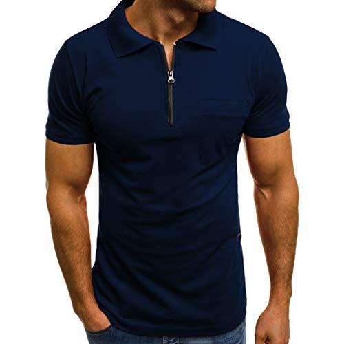 Frashing Herren Sommer Polo Shirt V-Ausschnitt mit Reißverschluss Einfarbig Sweatshirt Poloshirt Kurzarmshirt Sportshirt T-Shirt Freizeit Casual Top Polohemd Pullover (XL, Marine) -