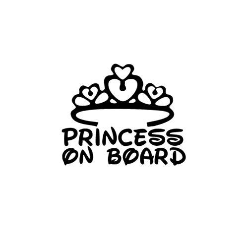 jgashf Principessa a Bordo Sticker, Adorabile Adesivo,Adesivo Decal per Laptop, Skateboard, Valigie, Auto, Paraurti, Bici, Moto, Casco, Finestra, Chitarra, Cellulare (Nero)