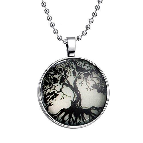 Feilok Lebensbaum Kette mit Bild-Anhänger für Damen Nachtleuchtender Anhänger Baum des Lebens Elegante Halskette mit Rundem Glas-Medaillon (Heute Abend Halloween Ist Es)