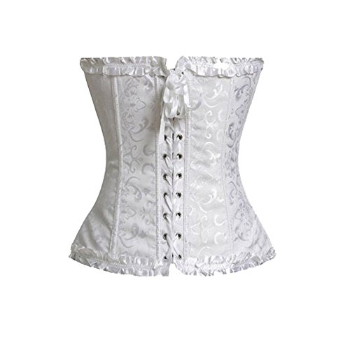 Beauty-You Donna Sexy Corsetto Bustino Basco Lacci Burlesque Cerniera Plus Dimensioni con g-string White