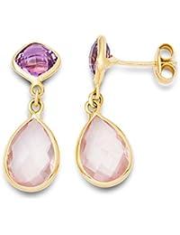 MIORE Amethyst 9 ct Rose Gold Half-Bezel Earrings uNSakwei87