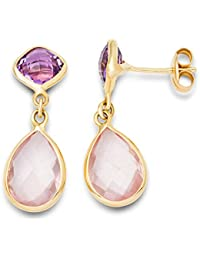 Miore Women's 9 ct Yellow Gold Amethyst and Rose Quartz Drop Earrings - 2.6 cm