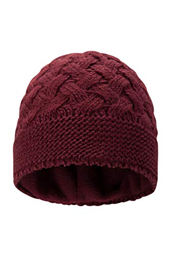 Mountain Warehouse Crisscross Womens Beanie - Lightweight, Fleece Lined Head Wear, Easy Care Ladies Cap, Warm & Cosy Winter Hat - For Keeping Cosy in Cold Weather