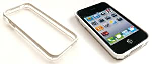 Emartbuy® HD Moulded Plastic Bumper Frame Skin Cover/Case White / Clear For Apple iphone 4/4g