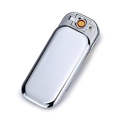 USB Elektronisches Ber&uumlhren Feuerzeuge Windfest Elektronisch Zigarre Zigarette Feuerzeug Aufladbare (Silber)