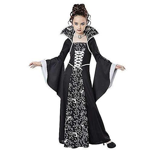 Hcxbb-b Halloween Kostüm, Vampire Queen Kostüm for Mädchen, Kostüm Outfit Kinderkleid, 7-8 Jahre (Farbe : Black, Size : (Holiday Charakter Kostüm)