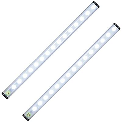 Tradinno Under Cabinet Light, Thin Dimmable Touch Sensor 15 LED Light Bar Kitchen Cupboard Closet Wardrobe Light Strip USB Rechargeable Stick-on Light, 2 Pack by Tradinno