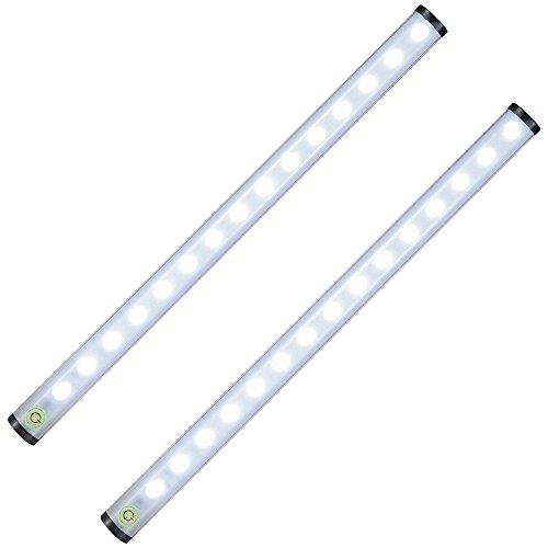 zonpor Schranklicht, 15 LED Nachtlicht Schranklichtleiste Wiederaufladbares Kabinettlicht für Camping im Freien, Flur, Schlafzimmer, Küche, 2 Pack -