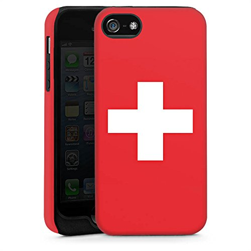 Apple iPhone 5s Housse Étui Protection Coque Suisse Suisse Drapeau Cas Tough brillant
