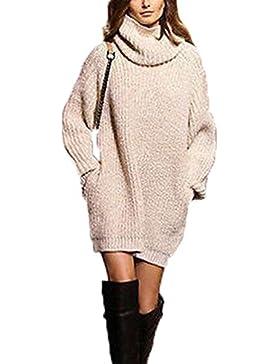 WanYang Mujer Invierno Jerséy Suéter Cuello V Casual Vestido Jumper Tops Camiseta de Cuello Alto