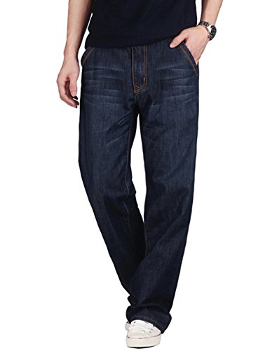 Demon&Hunter 809 Serie Herren Loose Fit Relaxed Jeanshose Jeans DH8009-1(30) (Denim Relaxed Fit)