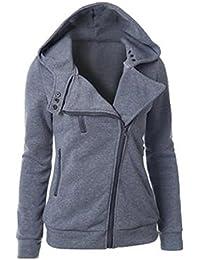f245621cab ROSEUNION Damen Frühling Herbst Casual Langarm Schräge Zipper Hoodies  Sweatjacke Kapuzenjacke Kapuzenpullover Sweatshirt…